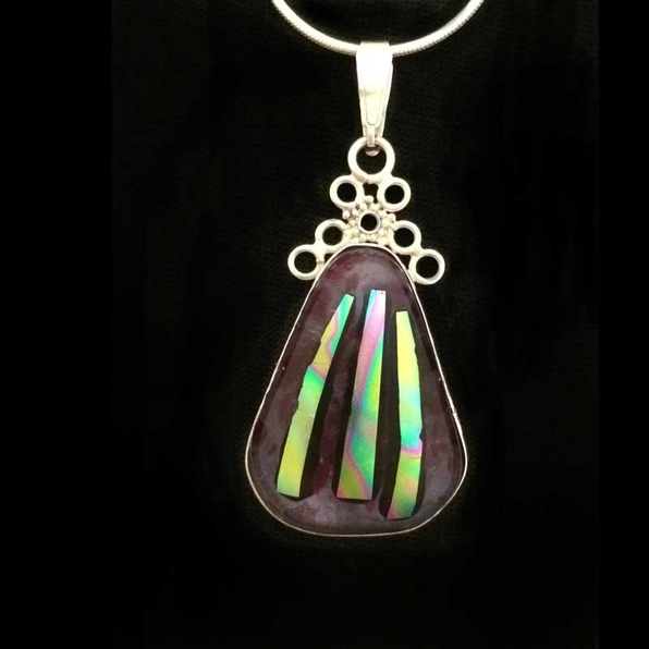 Julies Designer Jewellery, Solid Silver, Dichroic Glass Pendant &pound